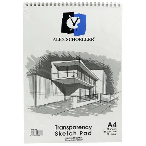 ALEX SCHOELLER TRANSPARENCY SKETCH PAD A4  30 SAYFA 50-55 GR