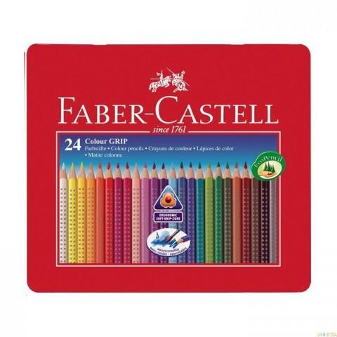 Faber-Castell Grip 2001 Metal Kutu Boya Kalemi 24 Renk