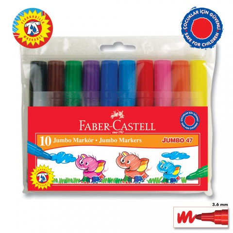 Faber-Castell Jumbo 47 Markör 10'Lu