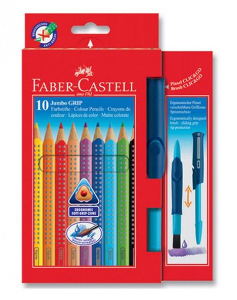 Faber-Castell Jumbo Grip Boya Kalemi 10 Renk+Firça 5170110914