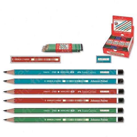 Faber-Castell Kurşun Kalem Mercanlı Köşeli 144'LÜ STAND 2160000