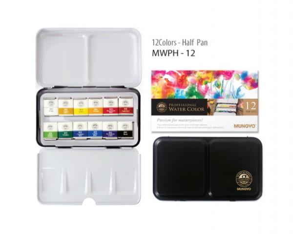 Mungyo Professional Suluboya 1/2 Yarım Tablet 12 renk