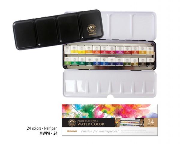 Mungyo Professional Suluboya 1/2 Yarım Tablet 24 renk
