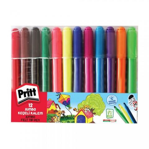 Pritt---Jumbo Yuvarlak Uç Keçeli Kalem - 12 Renk