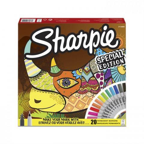 Sharpie Fine Permanent markör 20li Karışık kutu- Gergedan