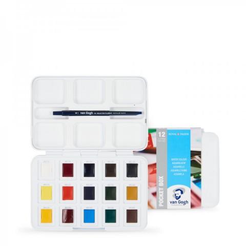 Talens Van Gogh Tablet Sulu Boya 15 (12+3) Renk (Suluboya Blok Hediyeli)