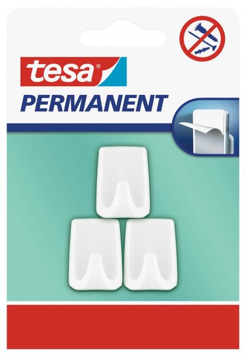 Tesa Kalıcı Askı - PERMANENT Plastik Küçük Dikdörtgen Beyaz 3 Lü 66606