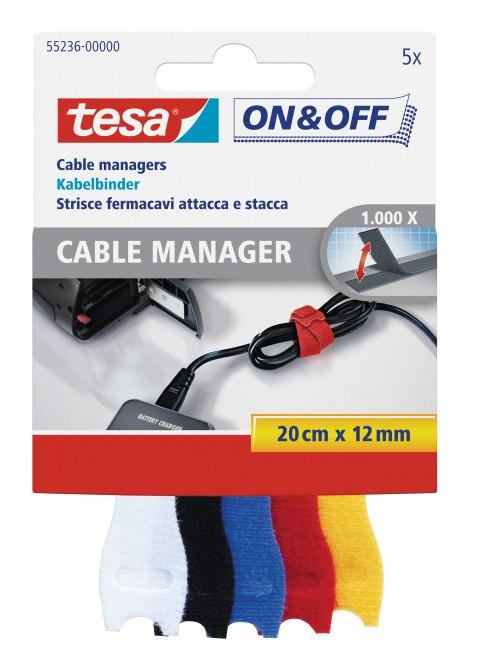 Tesa On&Off Kablo Organizatörü Renkli 5'li 0,2M 55236