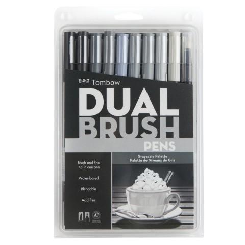 Tombow Dual Brush Pen Gray Scale Colour Set 10 Renk