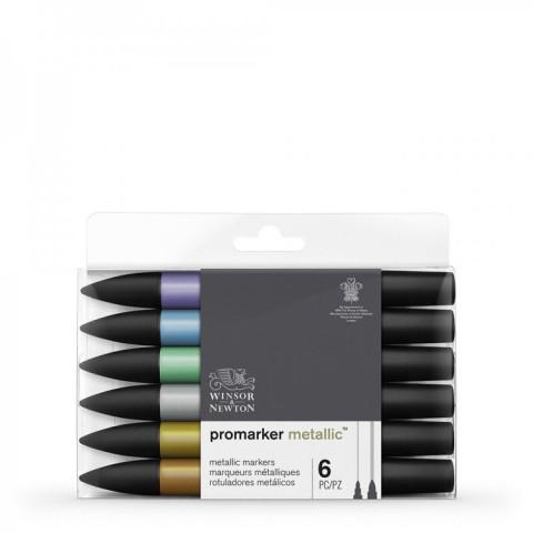 Winsor & Newton Promarker Grafik Kalemi 6 LI Metalic Tones