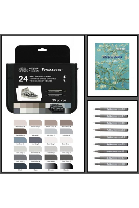 Winsor Newton Promarker Kalem 24 Renk & Artline Drawing 9lu Set & Odak A4 140gr Sketch Book